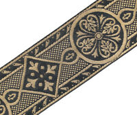 "2 3/8"" Wide Jacquard Trim Medieval Style Black & Gold Church Vestment 3 Yards"
