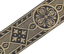 "2 3/8"" Wide Jacquard Trim Medieval Style Black & Gold Church Vestment 3 Yards"