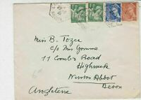 France 1939 Gironde Multiple Stamps Cover to Devon England Ref 31969