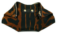 ALEXANDER McQUEEN Brown & Black Animal Print Canvas DE MANTA Clutch Bag