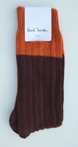 PAUL SMITH brown orange cable knit wool cashmere socks MADE IN ITALY