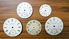 5 Vtg Pocket Watch Face Elgin Plymouth Waltham Mixed Parts Or Repair As Is