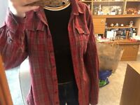 *GREAT CONDITION* Barbour winter tartan red  check plaid oversized shirt size 14