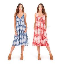 Pistachio Damen Aztec Drucken Strappy kreuzen Baumwolle Sommer Midi Sommerkleid
