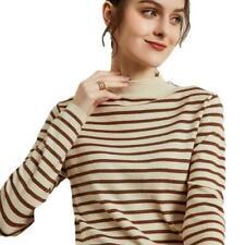 Damenmode Mock-Kragen Pullover Kaschmir-Mischung Sweater Gestreift Tops Winter D