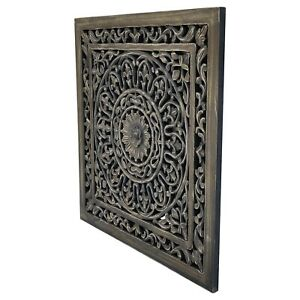 Wall Art. Hand Carved Ornate Wooden Panel. 60x60cm