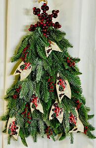 Handmade Beautiful Christmas Tree Door Wreath w/lights&Timer.Quality Materials