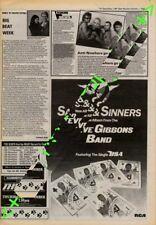 Steve Gibbons Band Saints & Sinners Advert NME Cutting 1981