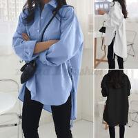 ZANZEA Women Long Sleeve Asymmetrical Split Tops Loose Button Down Shirt Blouse
