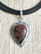 Natural Gemstone Mahogany Obsidian Black Cord Necklace Chakra Fengshui USA