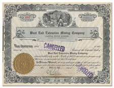 West End Extension Mining Company Stock Certificate