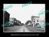 OLD LARGE HISTORIC PHOTO OF PLAINFIELD INDIANA, THE MAIN STREET & STORES c1940