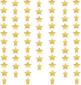 Whaline Star Paper Garland Gold Bunting Banner Hanging Decoration For Wedding Ho