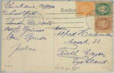 82100 - NORWAY - Postal History -  3 Colour FRANKING on  POSTCARD  1900's