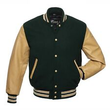 Varsity Jacket Bomber Letterman Forest Green Wool Body Tan Real Leather Sleeves