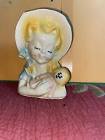 "Vintage Shawnee pottery Wall pocket planter Little Girl with Doll 6"" Perfect Con"