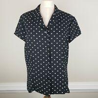 Sag Harbor Women Top Large Button Up Polka Dots Short Sleeve Black White 11/12