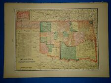 Vintage Circa 1904 Indian Territory Map Antique Original & Authentic -Free S&H
