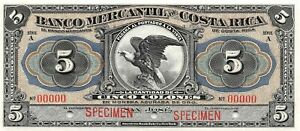 Costa Rica  5  Colones  ND. 1910  S 201s  Series  A  Rare  Uncirculated Banknote