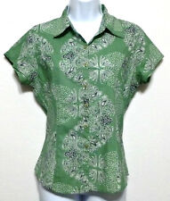 Cato Ladies Green Embellished Pattern Cotton Button Front Shirt - Size S (4-6)