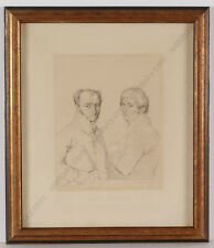 """Mme Louise Girard """"Architects Leclere and Prevost"""", Rare Engraving after Ingres"""