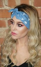 Blue Bird Festival Vintage Rockabilly Pin up Wired Headband Headwrap