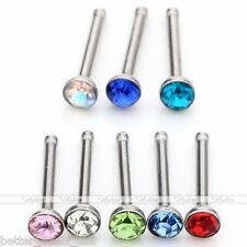 24pc Multicolor Crystal Nose Ring Jewelry Stainless Steel Body Piercing Stud USA