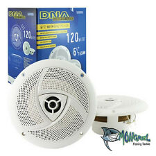 "SPEAKERS 6.5"" WHITE PAIR 2-WAY 120W MARINE BOAT OUTDOOR STEREO SPEAKER 6-1/2"""