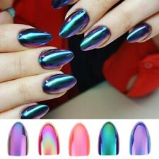 Chrome Nails STILETTO Fake Nail Tips 12pcs/Box Metallic False Nail Art Manicure