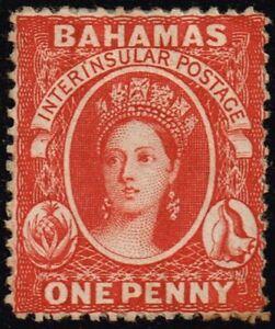 Bahamas 1877 1d. scarlet-vermilion, MH (SG33)