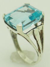 Vintage Silver/925 12.00ct Radiant Cut Blue Topaz Solitaire Cocktail Ring 7