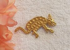 Classic Pin Brooch Aardvark Ant Eater Tail Snout Big Ears Claws Gold Tone Ds7