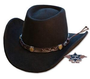 Hochwertiger Cowboyhut Westernhut GAMBLER 100% Wollfilz schwarz von