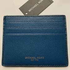Michael Kors MENS WARREN ATM CREDIT CARD CASE Ocean Blue BNWT