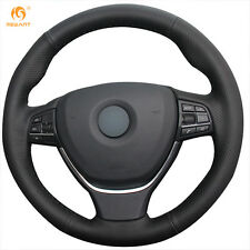 Black Leather Steering Wheel Cover for BMW F10 520i 528i 730Li 740Li 750Li #BM47