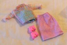 Barbie Doll Sheer Blouse Tank Top & Light Mauve Skirt + Shoes
