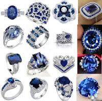Blue Sapphire Topaz 925 Silver filled Ring Engagement Bridal Jewelry Size 6-10
