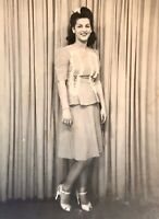 Beautiful Woman In Dress Heels 1942 Big Hair Photograph Picture
