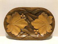 Vintage Hand Carved Wood Centerpiece Plate Dish Platter Boho Leaf Tray MCM