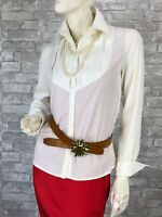 Giorgio Armani New Runway White Cotton Dress Shirt Blouse Top 4 US 40 IT S Italy