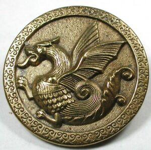 """Antique Brass Button Wonderful Detailed Dragon Scene - 1&1/2"""""""