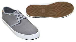 TOMS Carlo Men's Heritage Canvas Lace-Up Sneakers Size 8 NIB Drizzle Grey