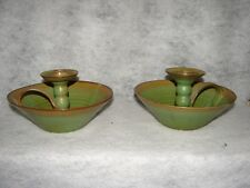 Rare Pair J B Cole North Carolina Pottery Candlesticks ~ NC Pottery ~ Cole