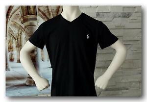 Polo Ralph Lauren T-Shirt Herren Basic Shirt V-Neck Gr. S-2XL  Black/White  NEU