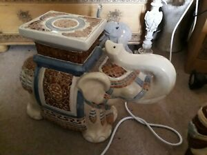 Large Vintage Ceremonial Floor Standing Ceramic  African Elephant Plant Stand  2