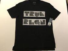 TRUE RELIGION MEN TRUE BLOCK LOGO SS SWEAT SHIRT BLACK PREMIUM NWT M $139