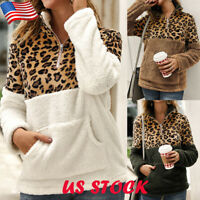 Women's Leopard Print Hoodie Zip Up Sweatshirt Casual Long Sleeve Coat Outerwear
