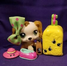Authentic Littlest Pet Shop #1963 Cocker Spaniel Puppy Dog Tan Brown Pink Hearts