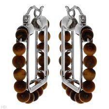 Lovely Hoop Earrings W/Genuine Tiger's eye Made in 925 Sterling Silver