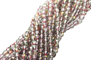 100 Pink / Green Czech Glass Faceted Round Beads 4MM